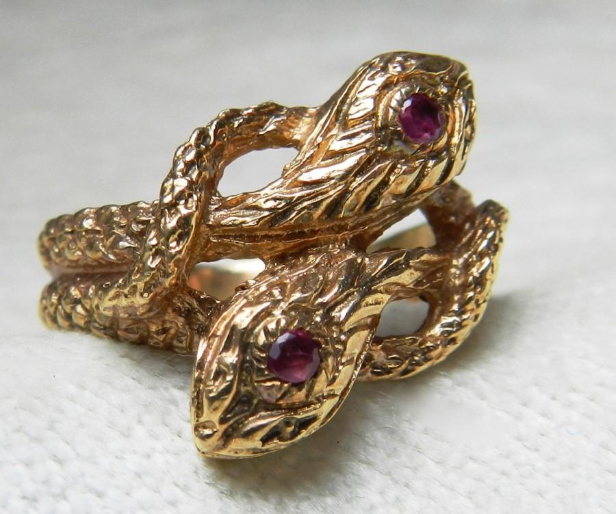 fe35c0bd5 Snake Ring 14K Unique Engagement Ring Double Serpent Ring Ruby Ring Vintage  14K Gold Serpent Art Deco Ring July Birthday