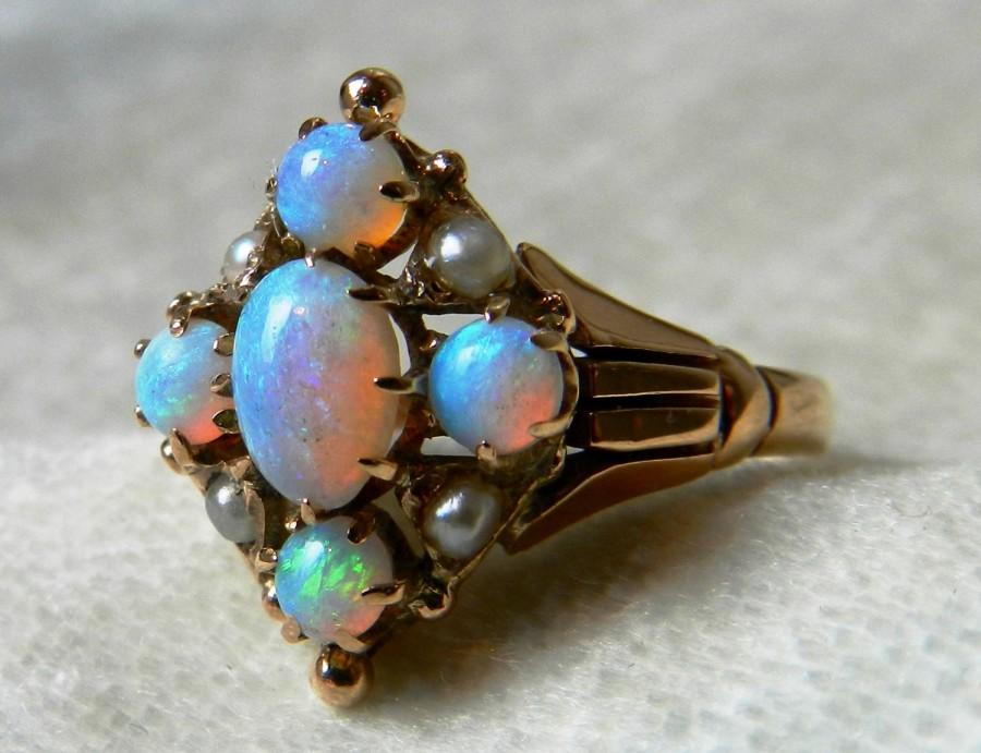 Hochzeit - Opal Engagement Ring 1800s Victorian Opal Seed Pearl Ring Rose Gold Ring Opal Ring Unique Engagement Ring June or October Birthday