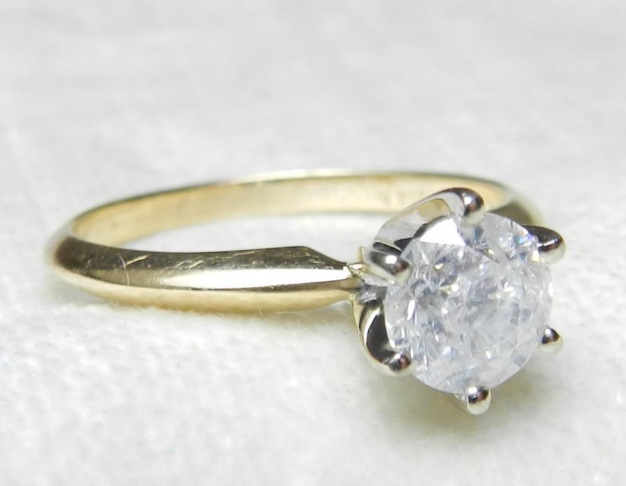 Hochzeit - Engagement Ring 1 Ct Diamond Solitaire Ring 14K Platinum Prongs Diamond Vintage Engagement Ring June Birthstone