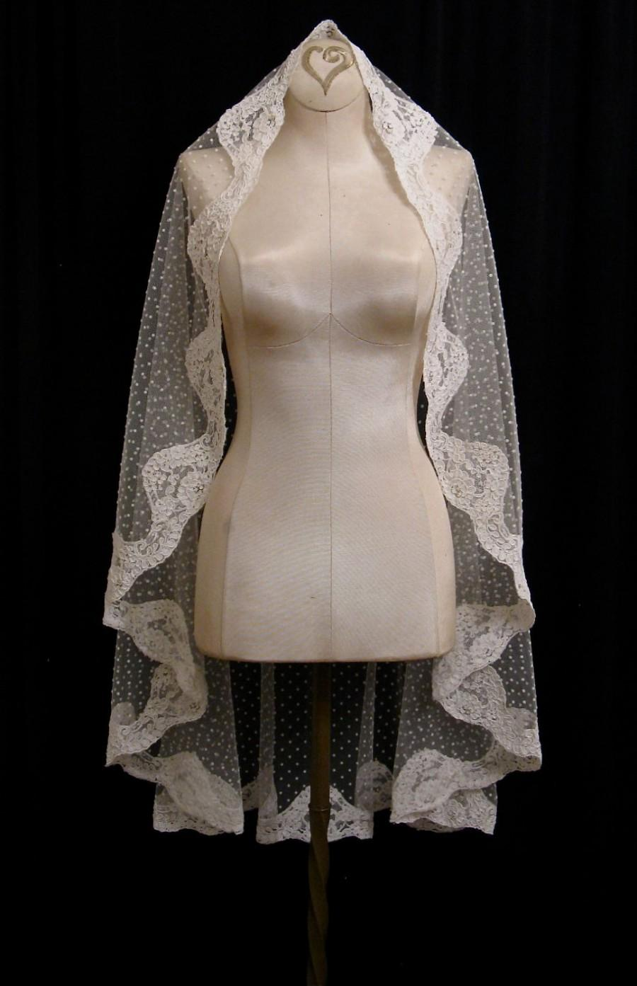 Wedding - Ivory Swiss Dot Mantilla Veil With Light Ivory Alencon Lace And Crystals