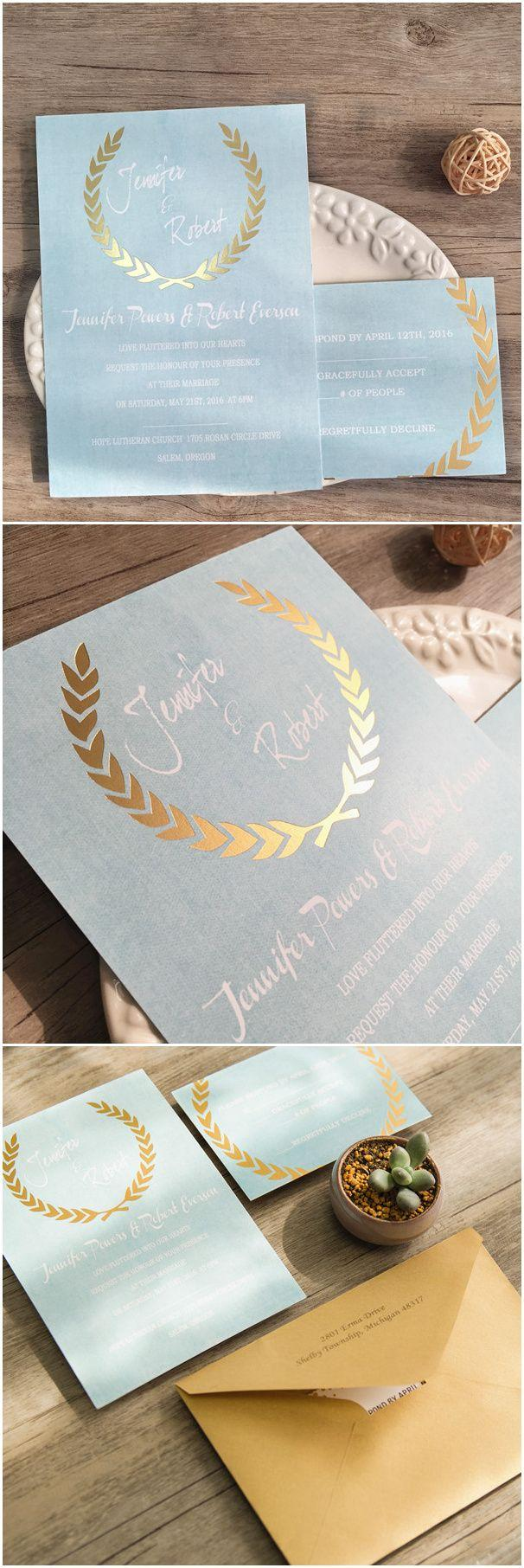 Hochzeit - Shades Of Blue Green Foil Stamped Leave Invitations EWFI010