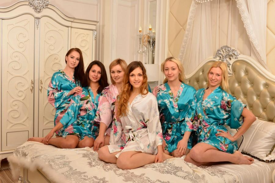 Wedding - CD1 ght Green  Robes Kimono Satin Robes Wedding Gifts Getting Ready Robes Bridal Party Robes Floral Robes Dressing Gown Ready Hair Robes