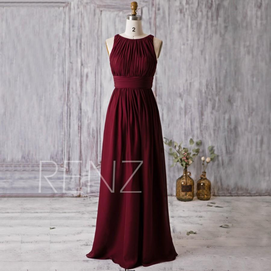 2016 wine red bridesmaid dress scoop neck wedding dress for Red wine wedding dress