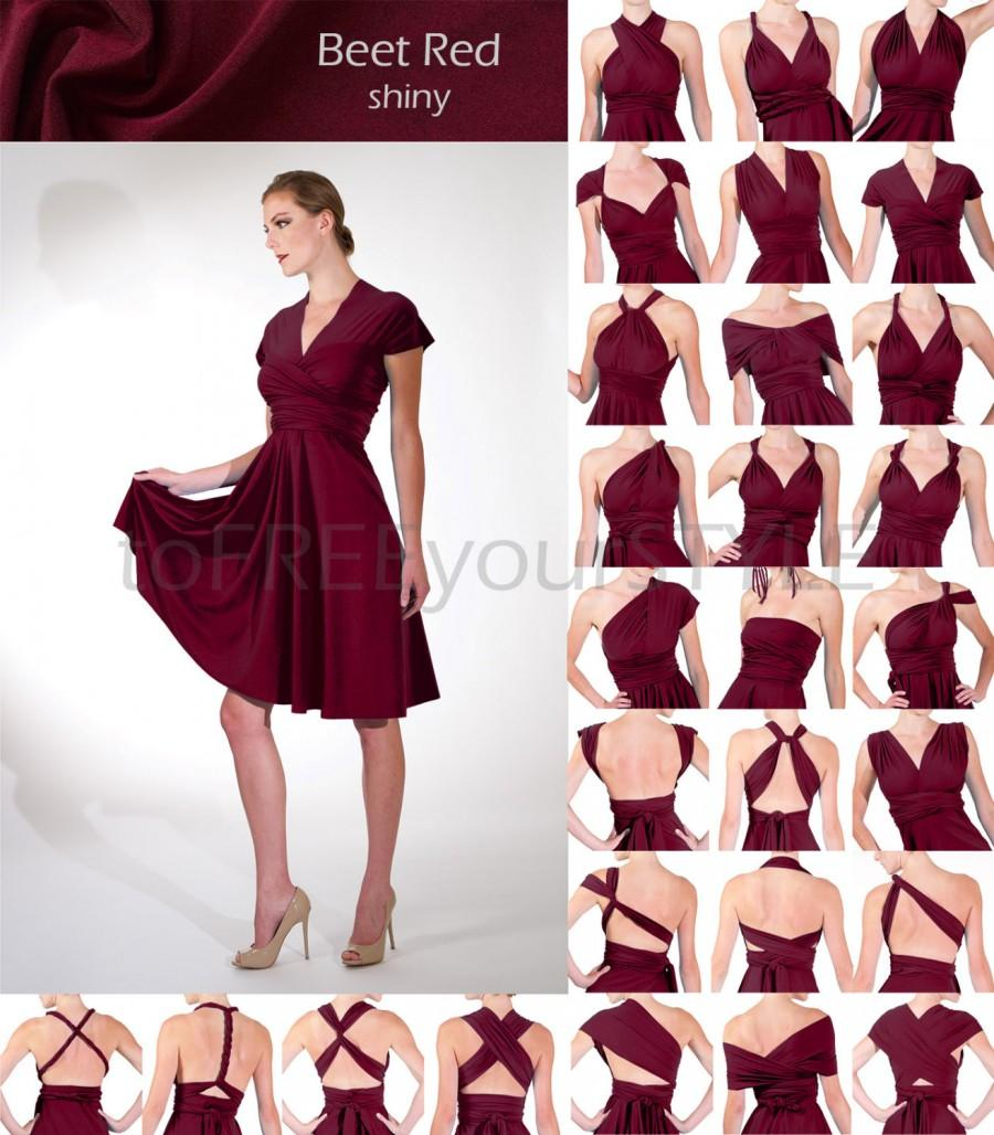 Wedding - Short convertible dress in BEET RED shiny, FULL Free-Style Dress, convertible bridesmaid dress, infinity wrap dress, short infinity dress