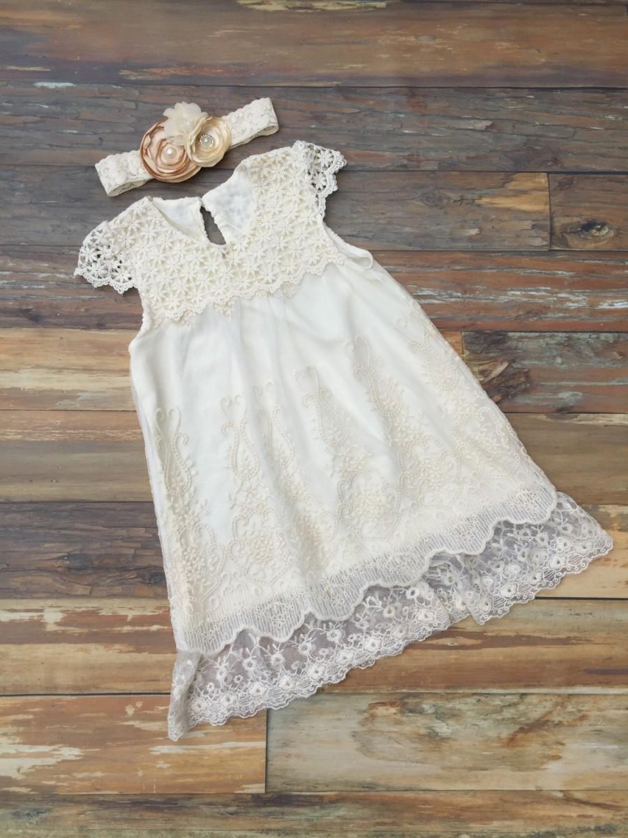 Wedding - Flower girl dress. Ivory lace dress. Ivory lace flower girl dress. Girls dress .  Vintage wedding flower girl dress