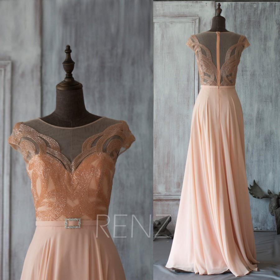 Wedding - 2016 Blush Bridesmaid dress, Peach Wedding dress, Cap Sleeves Party dress, Jewel Mesh Scoop Formal dress, Party Dress floor length (G030A)