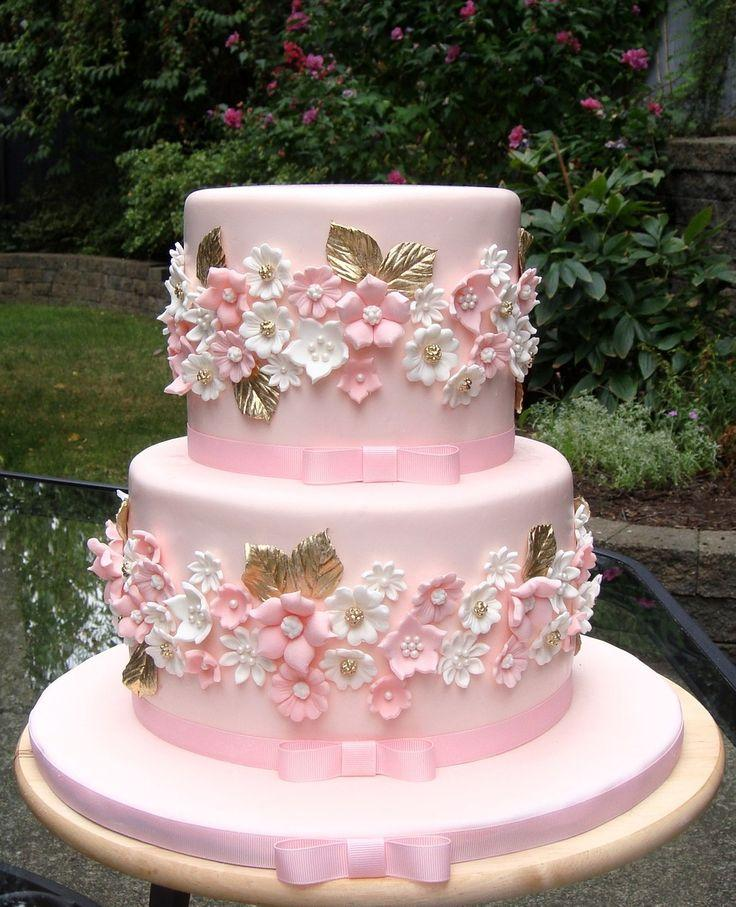 Cake Pink And Gold Wedding Cake 2498185 Weddbook
