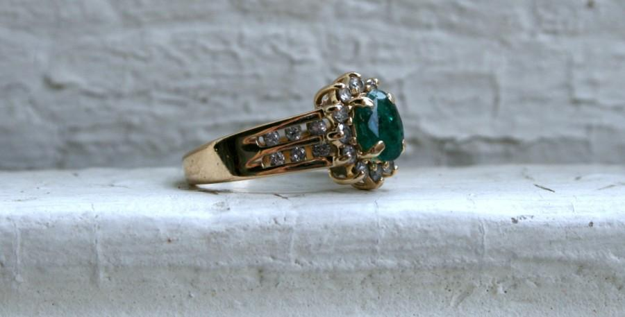 Wedding - Vintage 14K Yellow Gold Pave Diamond and Emerald Halo Ring - 1.48ct.