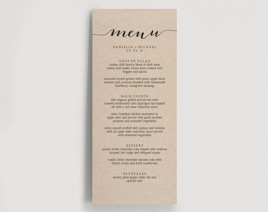 wedding menu printable template printable menu diy printable pdf instant download rustic. Black Bedroom Furniture Sets. Home Design Ideas
