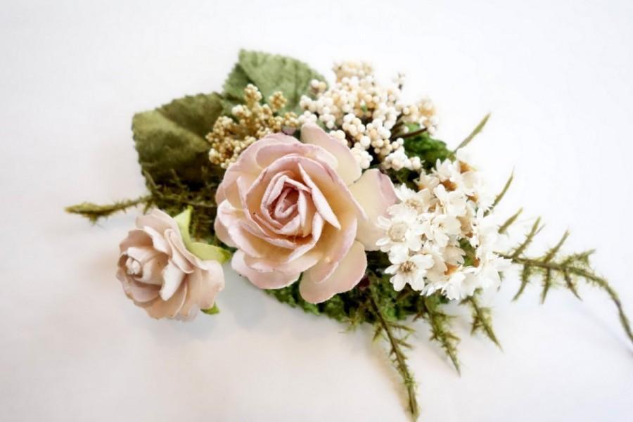 Mariage - Pink Hair Clip, Bridal Hair Clip, Blush Wedding, Boho Hairpiece, Rustic Hair Clip, Dried Flower Hair Clip, Flower Girl Hairpiece