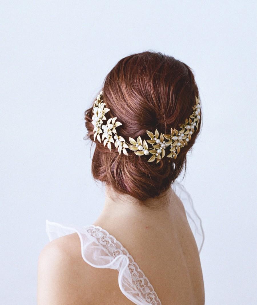 Mariage - Gold Bridal Headpiece, ELLWOOD Bridal Leaf Headpiece, Pearl Bridal Headpiece, Gold Leaf Halo, Gold Bridal Pearl Headpiece, Bridal Halo Tiara