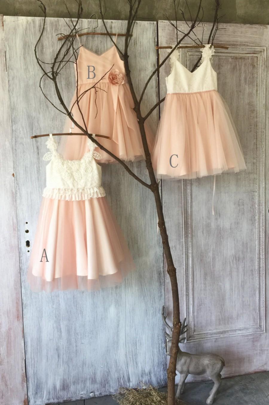 Wedding - 2016 Mix Match White Blush Pink Junior Bridesmaid dress, Mismatch Puffy Flower Girl dress, Mesh Lace Rosette dress (HK119/FK309/FK311)-RENZ