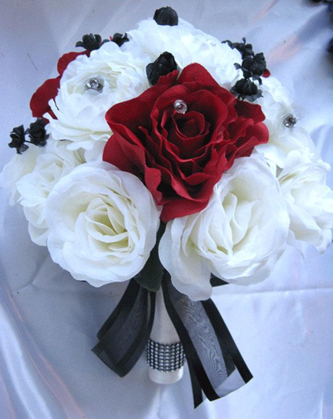 "Свадьба - Wedding Bouquet Bridal Decoration Silk flowers IVORY APPLE RED Black  17 pcs package set Free shipping ""Roses and Dreams"""