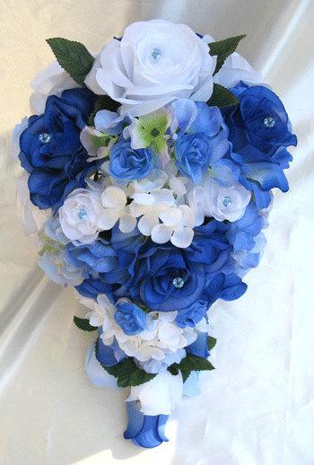 Düğün - Wedding bouquet Bridal Silk flowers Cascade ROYAL BLUE WHITE Periwinkle 17 pc package Free shipping Centerpieces RosesandDreams