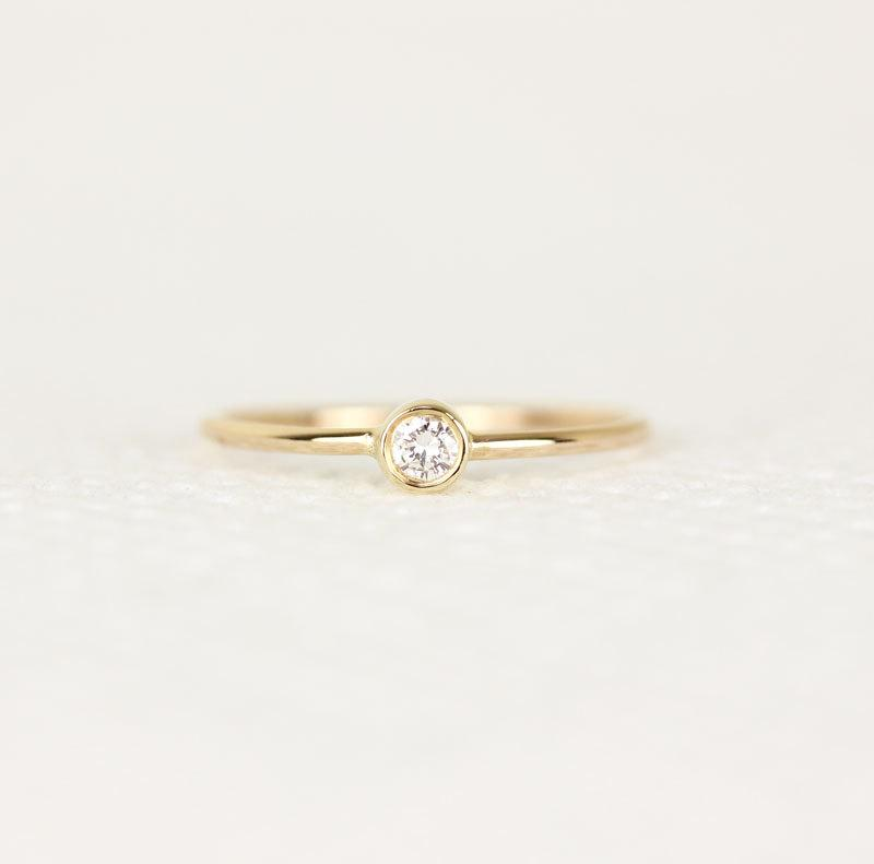Round Diamond Engagement Ring In 14k Solid Gold Simple Engagement Ring Thin Band Diamond Ring 2498251 Weddbook