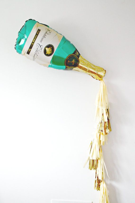 New Years Eve Champagne Bottle Tassel Balloon New Years Eve Decor Photo Booth Prop Gold And