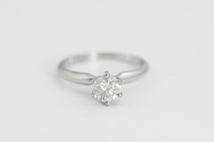 Mariage - Solitaire Diamond Engagement Ring in 14k White Gold