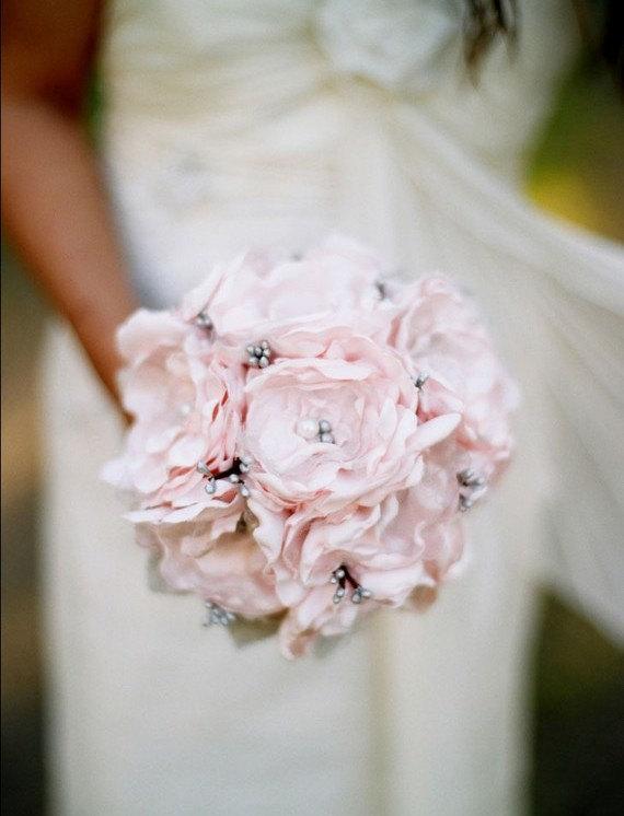 Свадьба - Pink Bridal Bouquet, Pink Bouquet, Grey Bouquet, Wedding Bouquet, Bridesmaid Bouquet, Flower Bouquet, Pink Grey Bouquet Gray