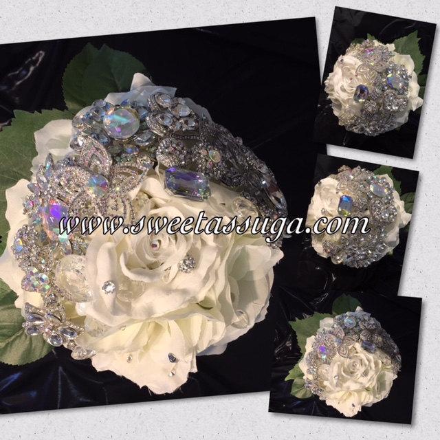 Wedding - Brooch Bouquet, Wedding Bouquet, Bridal Bouquet, Bridesmaids Bouquet, Wedding Decor, Brooch Accessories, White Wedding, Crystal Bouquet