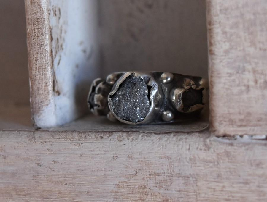 Mariage - raw rough uncut diamond ring- one of a kind- engagement- wedding band- Enzo Luccati