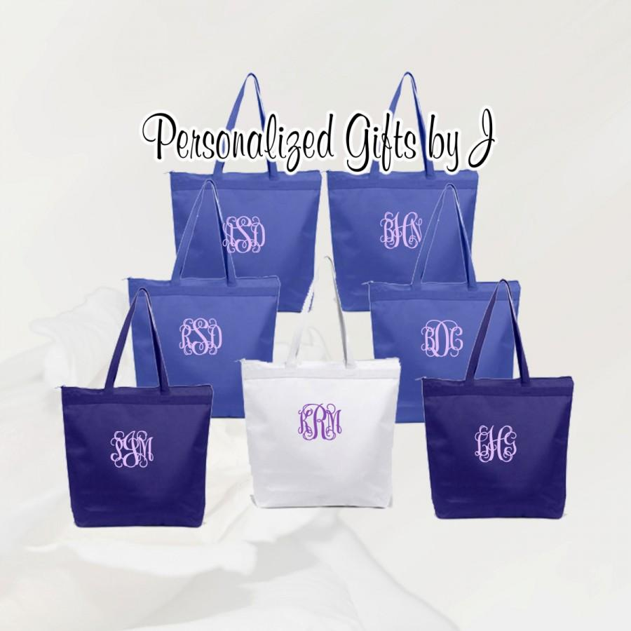 Wedding - 5 Personalized Zippered Tote Bags, Bridesmaid Gift Set of 5- Bridesmaid Gift- Personalized Bridesmaids Tote- Wedding Party Gift- Name Tote-