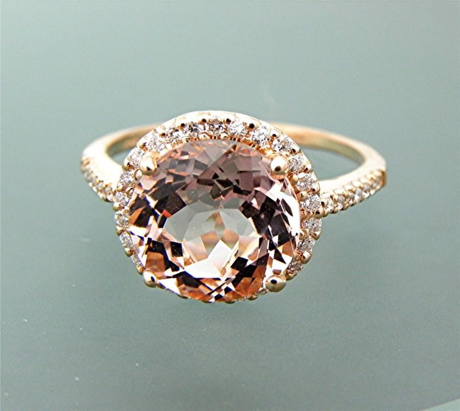 Свадьба - AAAA Peach Morganite 9.5mm Round 2.91 Carats 14K Rose gold diamond Halo engagement ring 0210