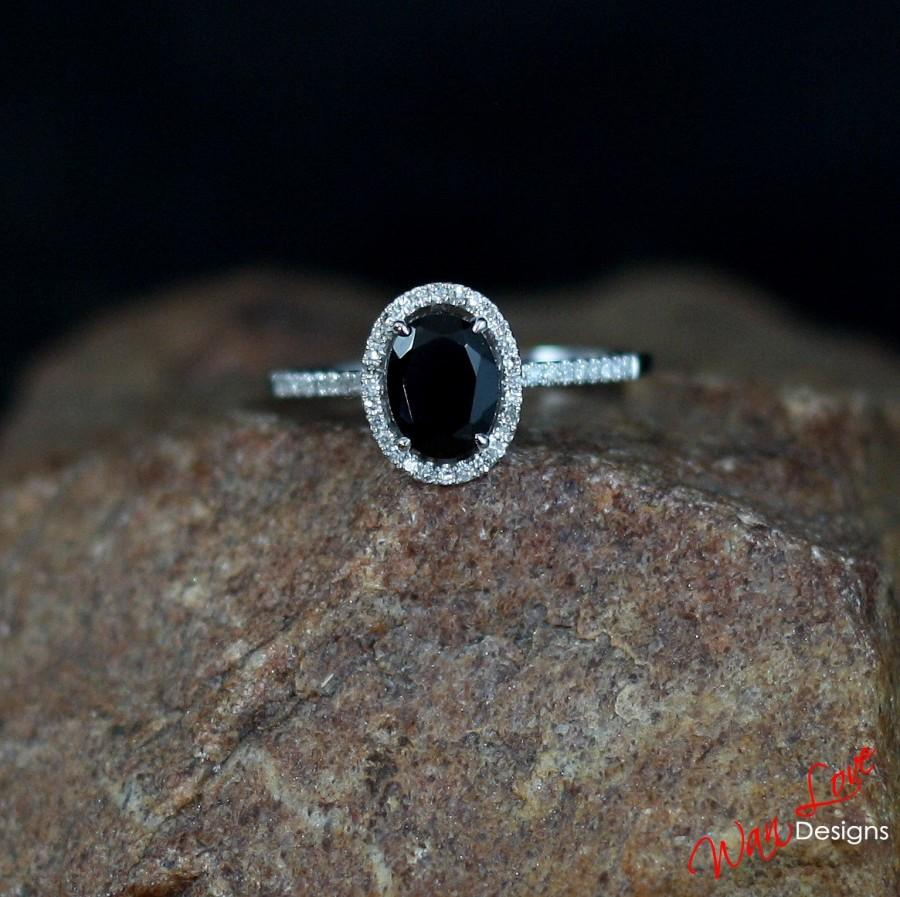 Mariage - Black Spinel & Diamond Oval Halo Engagement Ring 1ct 7x5mm 14k 18k White Yellow Rose Gold-Platinum-Custom made size-Wedding-Anniversary