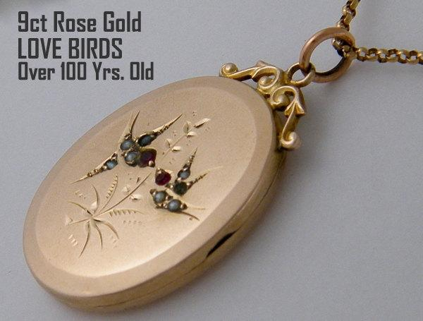 9k Gold Locket Necklace Antique Victorian Rose Oval Wedding Anniversary Gift For Her Mother S Day