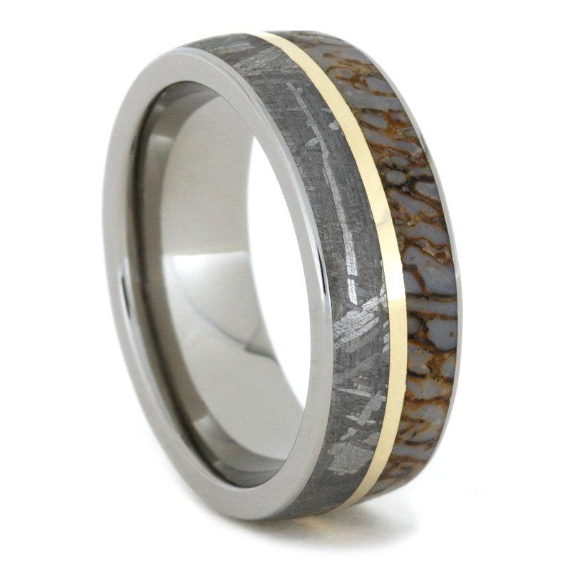 Hochzeit - Titanium Band with Meteorite, Dinosaur Bone and 14K Yellow Gold Pinstripe Inlay