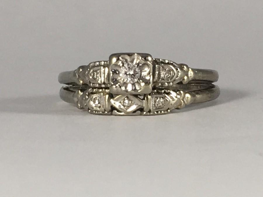 Vintage Diamond Engagement Ring And Wedding Band Set Cluster 10K White Gold Art Deco Filigree Setting April Birthstone