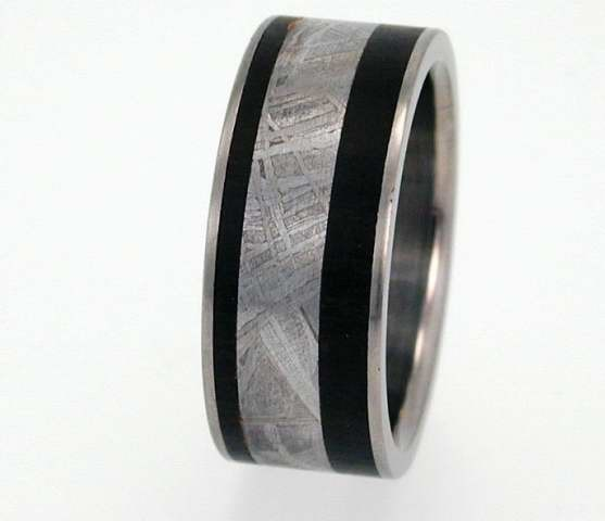Mariage - 4mm Meteorite and Wood inlay Titanium Ring Wooden Wedding Band Meteor Ring WP