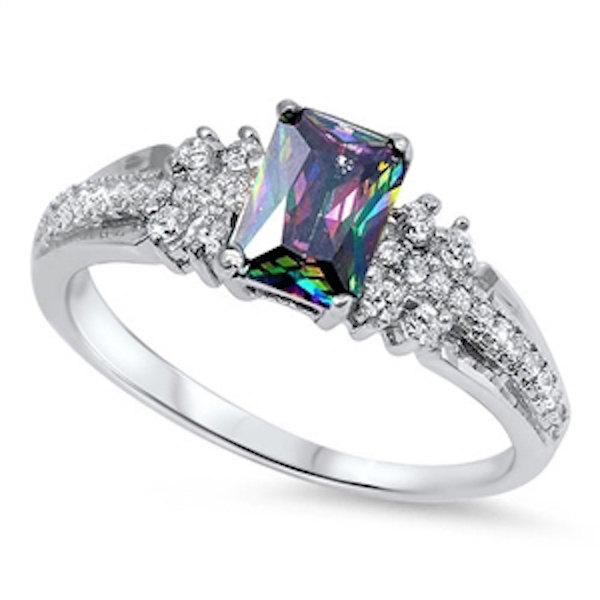 Mariage - 1.50 Carat Radiant Cut Mystic Rainbow Topaz Round White Russian CZ Vintage Style Solid 925 Sterling Silver Ladies Wedding Engagement Ring