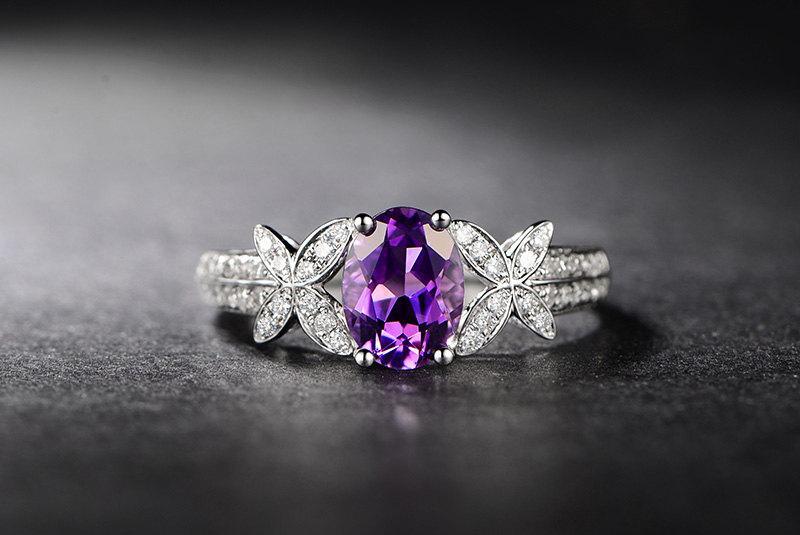 Wedding - Butterfly Amethyst Ring,Rose de France Amethyst Ring,Diamond Engagement Ring,Diamond Butterfly Ring in 14K White Gold