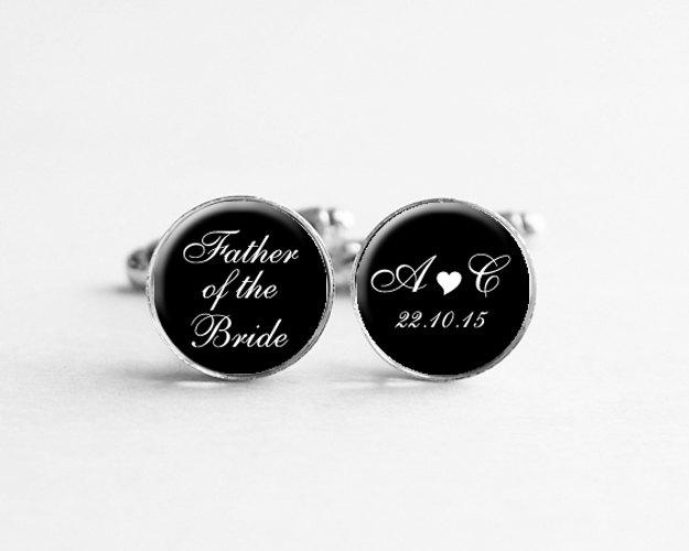 Wedding - Father of the Bride Cufflinks, Personalized Cufflinks, Wedding Date Jewelry, Custom Initial Cufflinks, Custom Name, C103