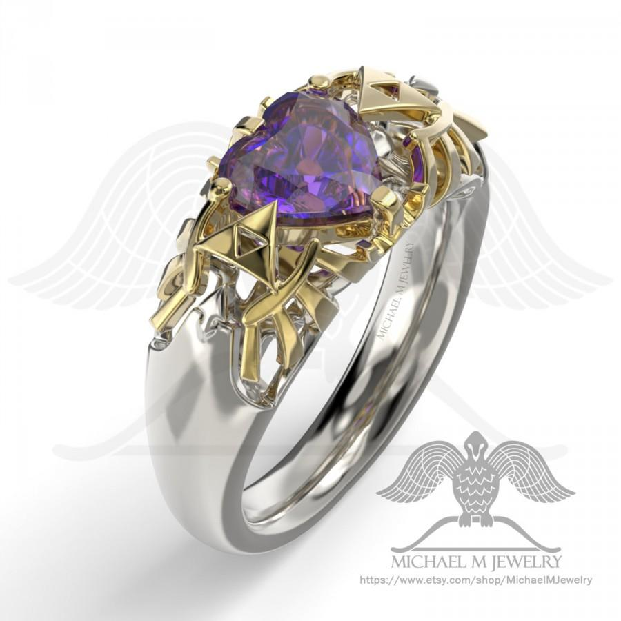 Mariage - Legend Hyrule Crest HEART PURPLE .925 or 14k rose gold or 14k white and yellow gold, custommade, handmade ***Made to Order