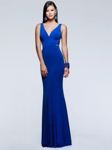Hochzeit - Etui-Linie Ärmellos V-Ausschnitt Jersey Bodenlang Kleider - Sexy Abendkleider - Abendkleider