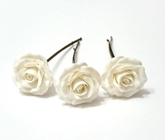 White Garden Rose Hair white roses hair pins, white roses hairpins, woodland, white