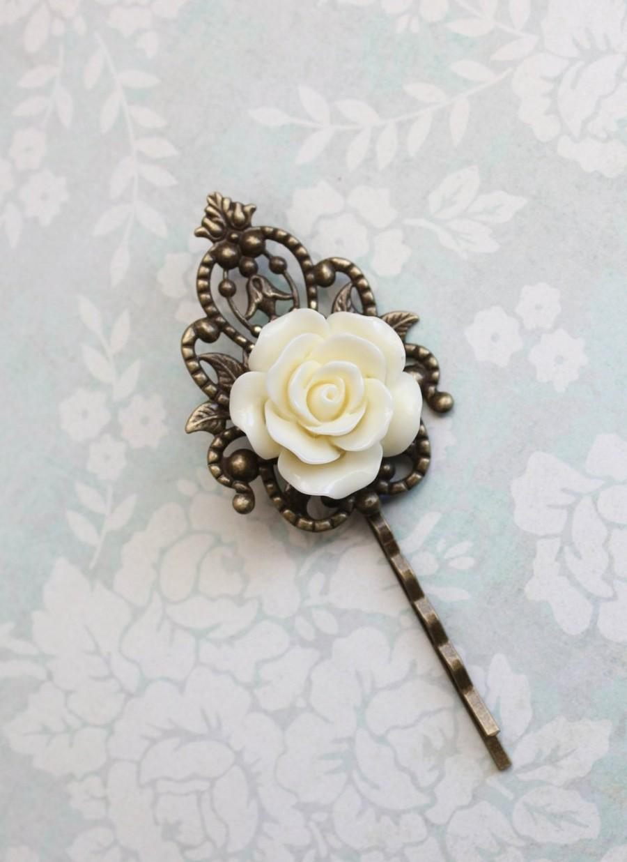 Mariage - Bridal Hair Pins Ivory Cream Rose Bobby Pins Floral Vintage Style Bridesmaid Gift Romantic Antique Brass Filigree Country Chic Wedding