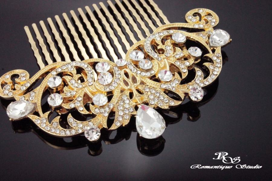 Mariage - GOLD Art Deco hair accessories Bridal hair comb vintage style bridal hairpiece Crystal wedding hair comb 1920s hair comb 5167G