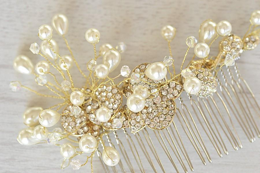 Gold Vine Hair Piece Wedding Pearl Bridal Comb Vintage Large Bride Accessory