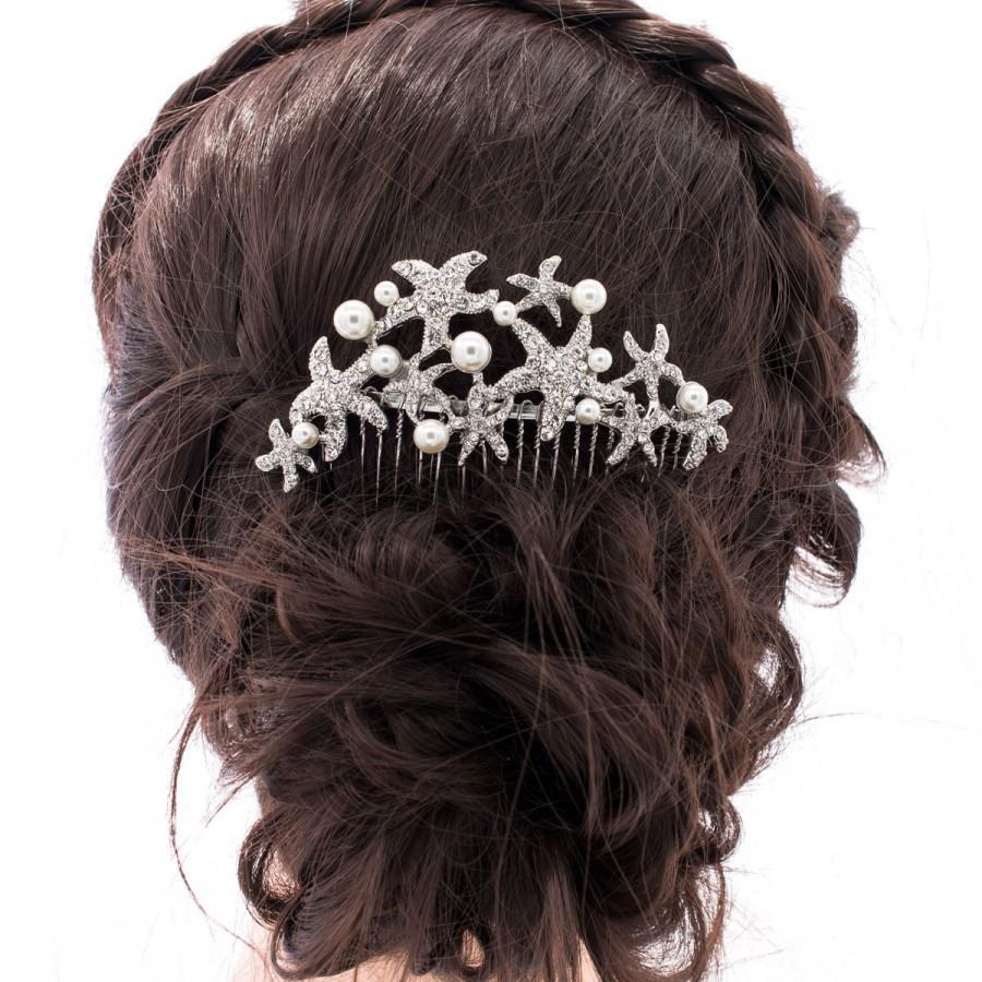 Pearl Wedding Hair Comb Starfish Bridal Rhinestone Crystals Piece Accessories Fa201792