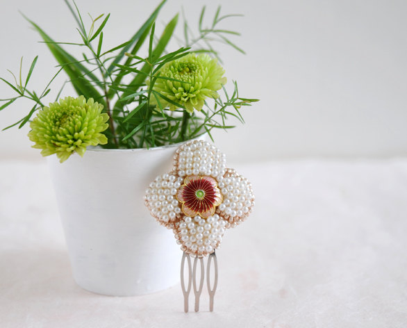 Mariage - Eve - flower haircomb, simple bridesmaid headpiece
