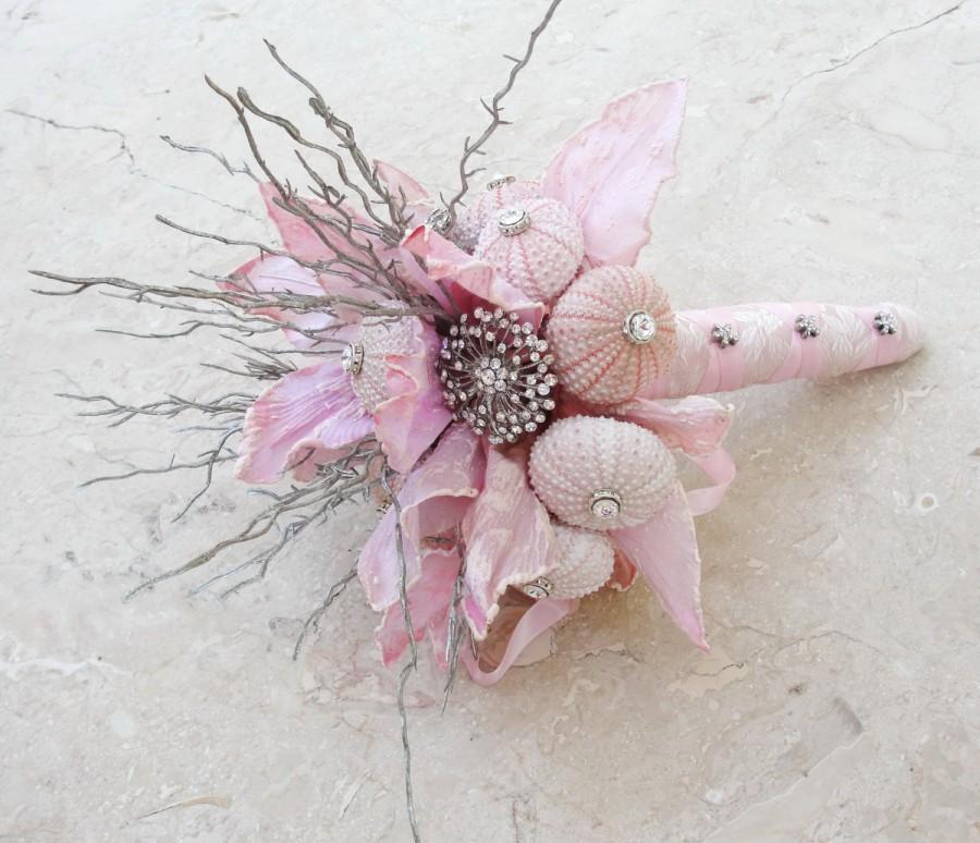 Hochzeit - Pink Beach Bridal Bouquet - Sea urchins Seashells Beach Wedding