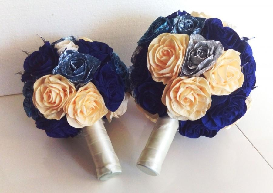 Mariage - SET of 2 Royal Blue Silver glistening Wedding Bridesmaids Bouquet flowers  paper flower bridal  Flower Girl bouquet bridesmaid Royal