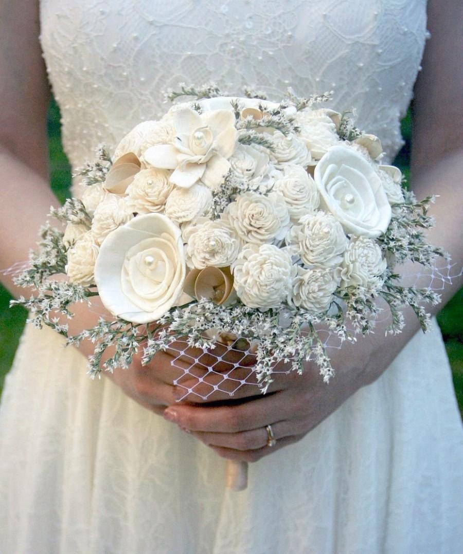 vintage chic bridal bouquet brides bouquet ivory sola bouquet