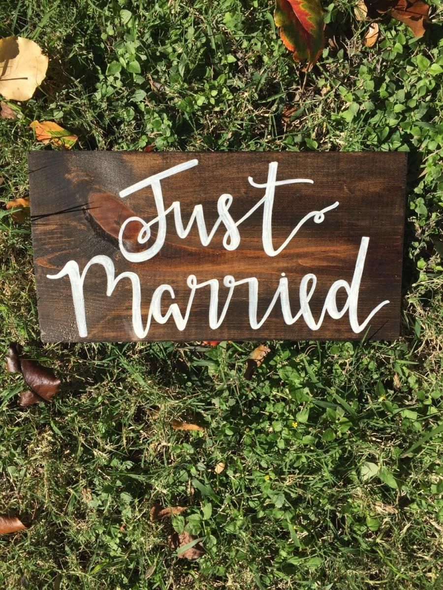 Just married sign wedding decorations rustic wedding boho wedding just married sign wedding decorations rustic wedding boho wedding wedding signage rustic wedding decor stained wedding sign junglespirit Choice Image