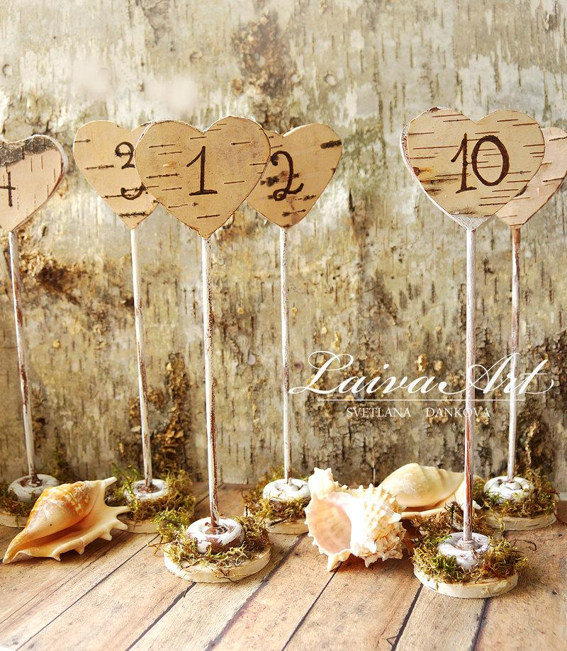 Rustic Wedding Table Numbers Centerpiece Wood Birch Wedding #2498613 ...