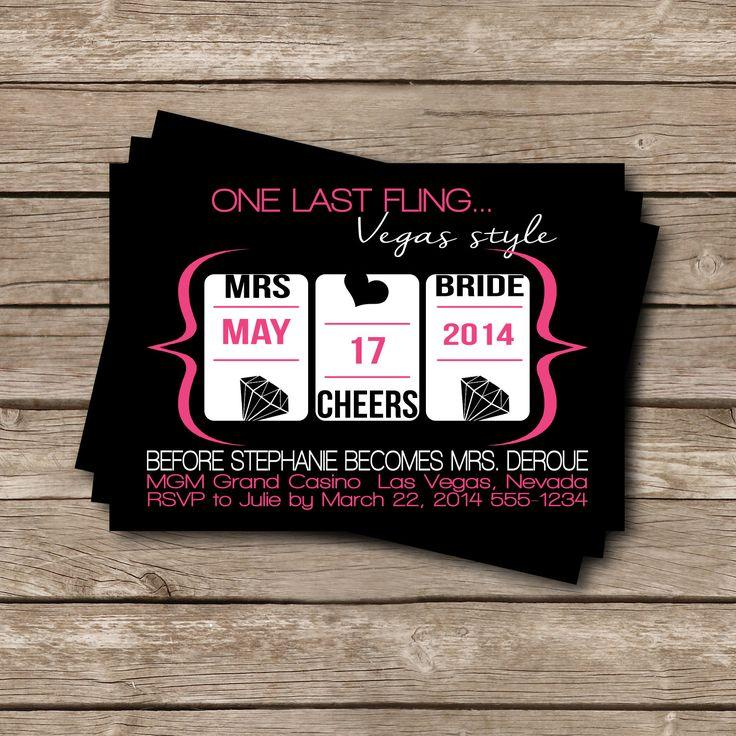 Bridal Shower Bachelorette Party Vegas Theme Invitations 5 X 7 – Bridal Shower and Bachelorette Party Invitations