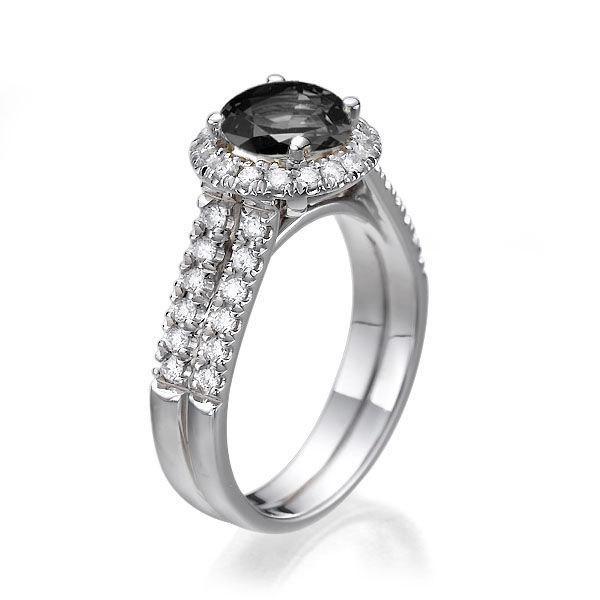 Wedding - Black Diamond Engagement Ring, 14K White Gold Ring, Double Shank Halo Ring, 1.66 TCW Black Diamond Ring, Art Deco Ring