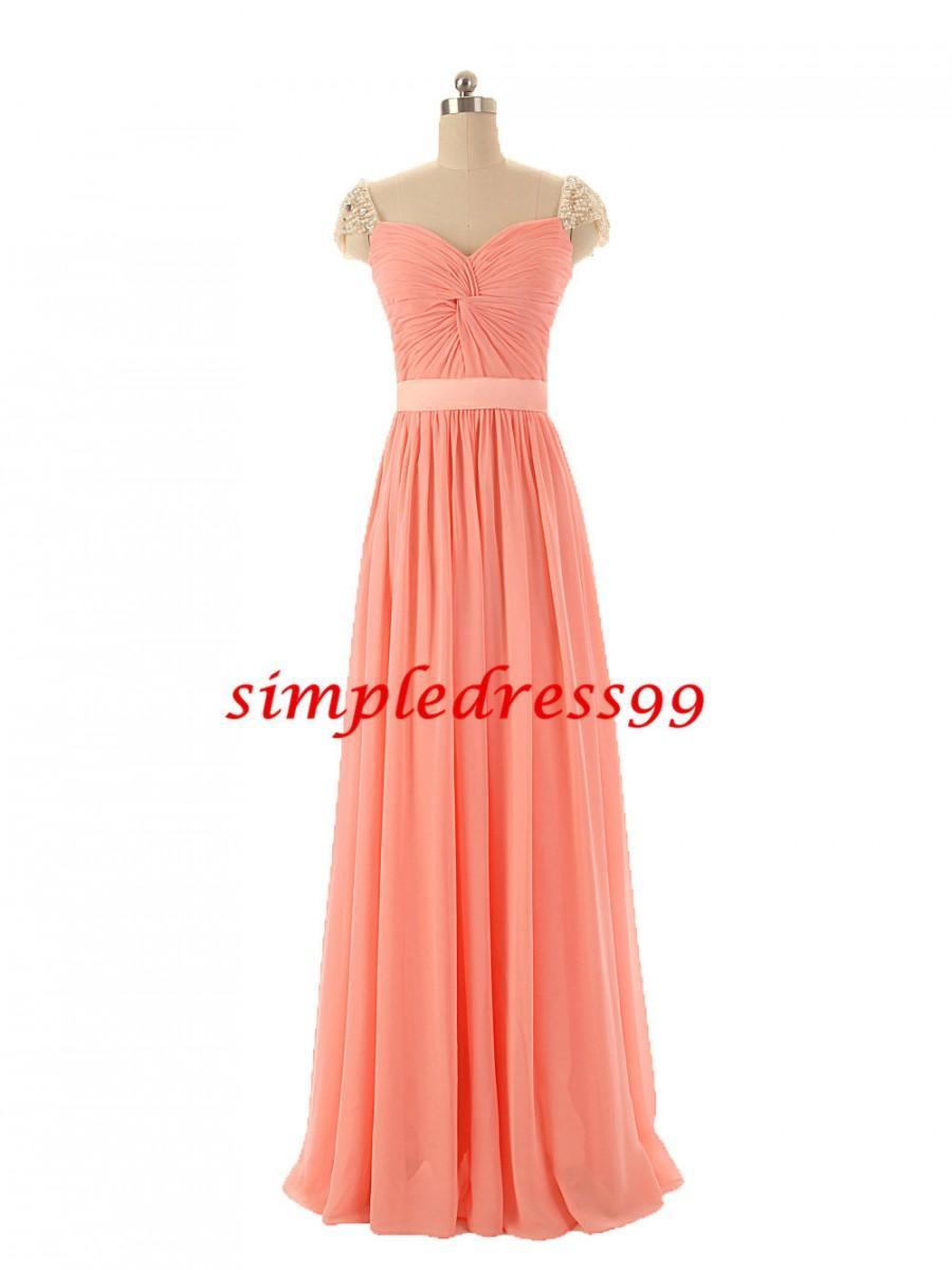 زفاف - Elegant Pleats V Neck Beading Cap Sleeve A Line Ribbons Long Peach Coral Formal Evening Dress Prom Party Cocktail Gown Bridesmaid Dresses